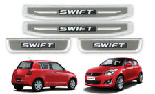 CHROME+GREY DOOR STEP SCUFF PLATE LED STAINLESS STEEL FOR SUZUKI SWIFT 2012-17
