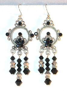 "SWAROVSKI CRYSTAL ELEMENTS Silver Prom 2-3/4"" Chandelier Earrings BLACK & COMET"