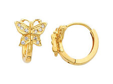 14K Real Yellow Gold Butterfly CZ Small Huggies Earrings for Baby and Children