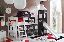 Lit mezzanine avec toboggan et tour KENNY Pin teinté blanc tissus Pirate Noir-Bl