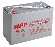NPP 12V 100Ah Sealed Deep Cycle AGM Battery Solar, RV, Off Grid