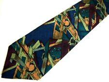"J. Garcia Mens Necktie Tie Abstract Angles Art Geometric Navy Green 56"" Short"
