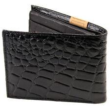 Black Leather Men's Bifold Croc Print Wallet Front Pocket Western Cowboy