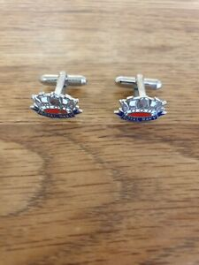 Vintage silver tone metal & Enamel Royal Navy cufflinks