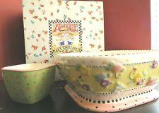 Mary Engelbreit Meadow Hostess Ceramic Chip & Dip Bowls Set Michel & Co