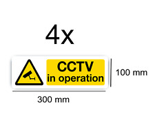 4 x CCTV Sign Vinyl Stickers, Security, Camera,Warning ,In Operation, Decal