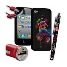 Housse Étui Coque en Gel + Chargeur Voiture Auto + Stylet pour Apple Iphone 4 /