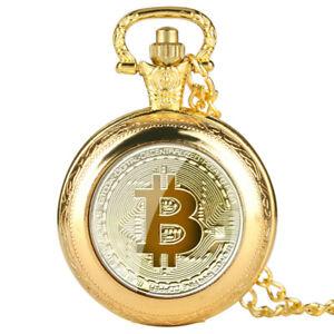 Quartz Pocket Watch Retro Bitcoin Full Hunter Pendant Chain Arabic Numerals Dial
