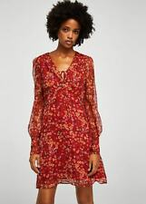 MANGO Floral chiffon dress Diane - size S - red - new, with tags