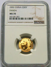2002 China 1/10oz gold panda coin G50Y NGC MS70