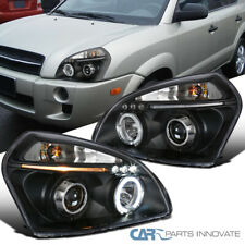 For 05-09 Tucson LED DRL Halo Projector Headlights Head Lamps Black Left+Right