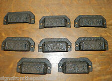 Set/8 Ornate Cast Iron Industrial Tool Seed Index File Bin Pull or Handles