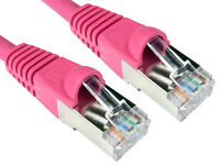 RJ45 cat6a network lead sstp lsoh patch cable snagless pink 5mtr