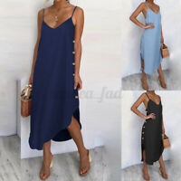 Womens Summer Strappy Denim Button Ladies Holiday Midi Swing Sun Dress Plus Size