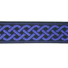 """Jacquard Ribbon Celtic Weave Pattern 13/16"""" Blue & Black 25 Yard Roll"""