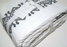 Pottery Barn Gray Cross Stitch Intricate Embroidered Band King Duvet Cover New