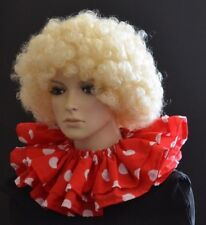 WHITE POLKA DOTS/SPOTS on RED CLOWN RUFF/RUFFLE CIRCUS COLLAR layered ADULT SIZE