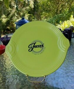 """FIESTA Club of America HANDLED SERVING TRAY cake cookie PLATE chartreuse 11"""" new"""