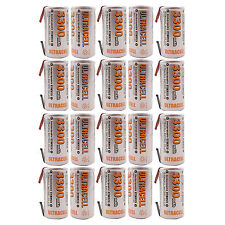 20 pcs Sub C 3300mAh NiMH 1.2V Rechargeable Battery w/ Tab UltraCell US Stock