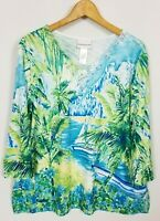 Alfred Dunner Women's Large Tropical Embellished 3/4 Sleeve Knit Top