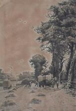 After the Harvest Etching c1900 Aft Frederick Slocombe Inscribed to Verso