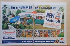 1959 two page magazine ad for Mobil - Hummer of A Summer, hummingbird, colorful