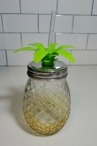 Pineapple Mason Jar  16oz - Yellow Sipper Glass Cup with Lid & Straw