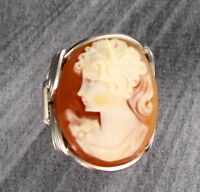 VINTAGE ANTIQUE SHELL CAMEO RING  STERLING SILVER SIZE 5 TO 15 WIRE WRAPPED