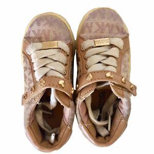 Michael Kors Camel Jacquard Lil Rita Tan Logo Sneakers Shoes Toddler Girls Sz 7