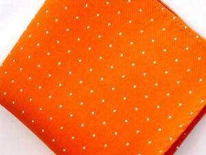 "New 10"" 100% Silk Pocket Square  Orange Pin Dot-15"