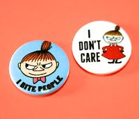 SET OF 2 MOOMIN LITTLE MY BUTTON BADGES