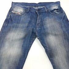 Diesel  Mens Vintage Jeans W35 L34 Dark Blue Regular Fit Straight High Rise
