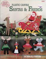 Santas & Friends in Plastic Canvas ASN 3062 Santa in Sleigh w/ Reindeer & More
