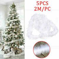 5X 2m Feder-Girlande Feather Strip Weihnachtsbaum Home Dekor Feder Xmas Ribbon