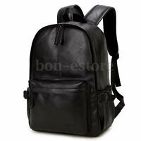 Men's Vintage Leather Backpack Rucksack Laptop Satchel Bookbag Travel Bag Black