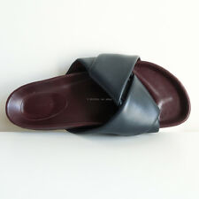 CELINE 'cross over slide sandals' navy dark blue burgundy leather origami 38