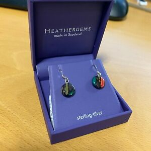 HEATHERGEMS MULTICOLOURED SMALL CIRCLE ROUND DROP STERLING SILVER EARRINGS SE14