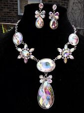 Earrings necklace set wedding ballroom dance peagent performance elegant evening
