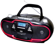 Trevi Portable Stereo Boombox CD Cassette AM FM MP3 USB Black Red FREE DELIVERY