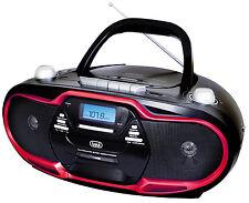 TREVI Stereo Portatile Boombox Cd Cassette Am Fm MP3 USB NERO ROSSO CONSEGNA GRATUITA
