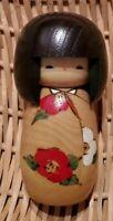 "Usaburo Japanese Kokeshi Wooden Doll 5"" Hana Tsubaki Kimono Girl Made Japan EUC"