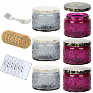 6Pack Glass Candle Tins Soy Wax Candle Making Jars Empty Embossed Containers DIY