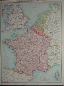 1920 LARGE MAP ~ FRANCE BELGIUM & HOLLAND LUXEMBURG BRUSSELS AMSTERDAM