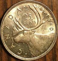 1940 CANADA SILVER 25 CENTS COIN