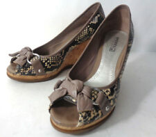 SPERRY TOP SIDER US 7.5M Silverside Taupe Python Wedge Heels Shoes