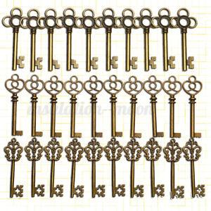 30pcs Large Skeleton Keys Antique Bronze Vintage Old Look Wedding Decor Keys  ¿