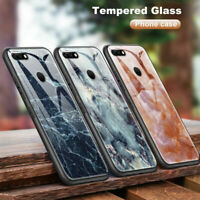 Marble Cover Tempered Glass Case for Huawei P20 P30 Lite Plus Y6 Y7 Y9 2018
