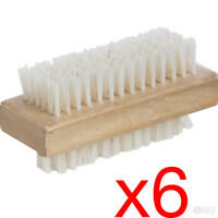 6 X WOODEN NAIL BRUSH MANICURE PEDICURE SCRUBBING CLEANING BRISTLES 9.2x4.8cm