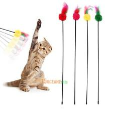 5pcs Cat Kitten Ultra Long Rod Pets Toy  Feather Teaser Bell Wand Play Training