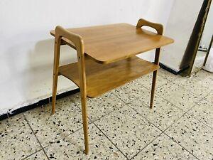 Beistelltisch Tisch Holz Regal Fach  Nachttisch 60s Teak Zeitungsständer Ablage
